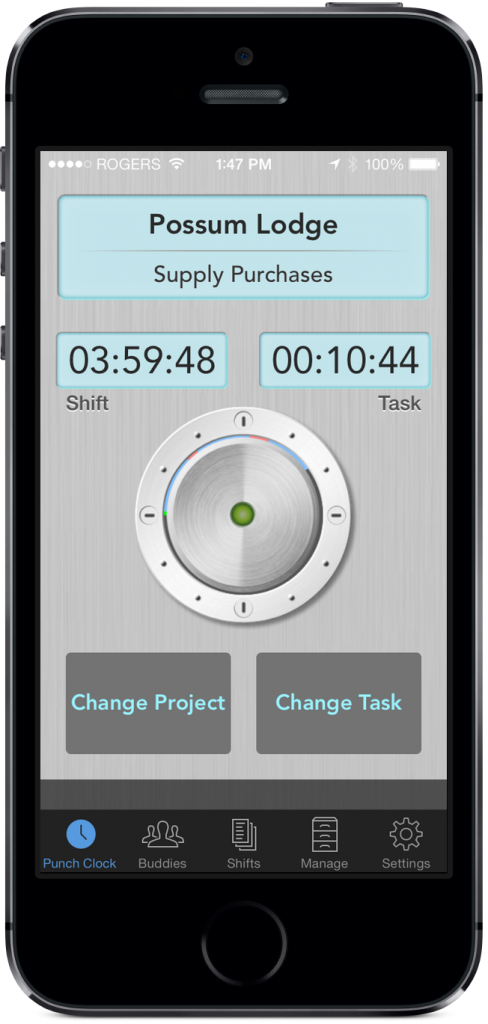 time tracking app interface